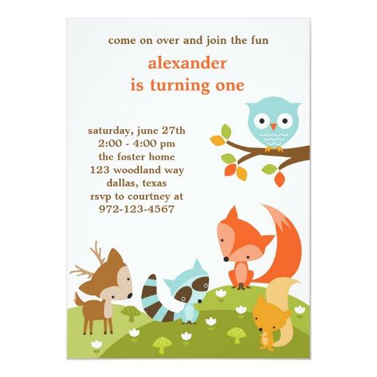 Cute Woodland Animal Invitations