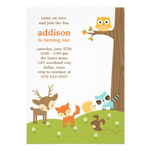 Cute Woodland Animal Invitations (front side)