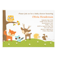 Cute Woodland Animal Invitations Invites