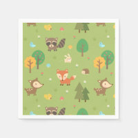 Cute Woodland Animal Pattern Baby Shower Party Napkin