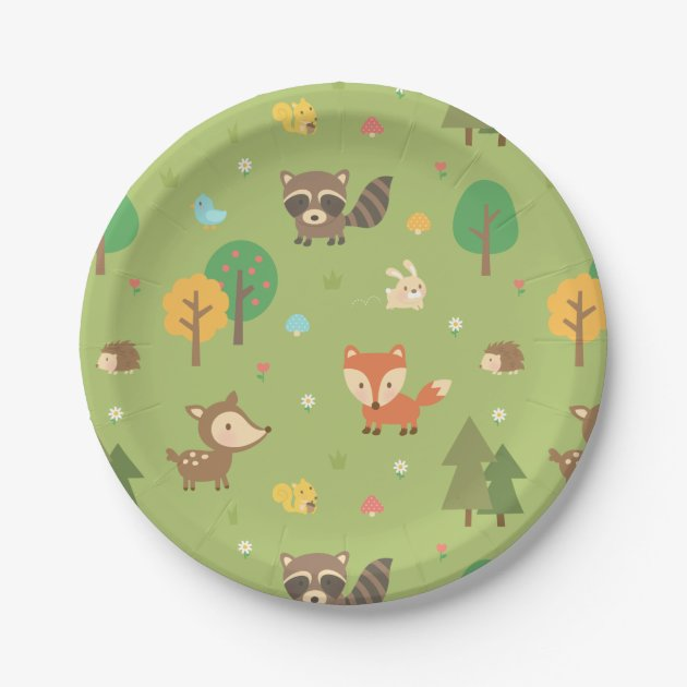 Cute Woodland Animal Pattern Baby Shower Party Paper Plate  sc 1 st  Castrophotos : disco paper plates - pezcame.com