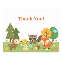 Cute Woodland Animal Thank You Postcard