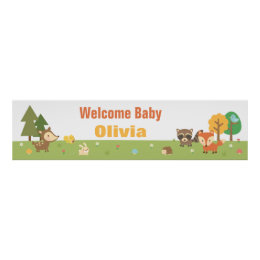 Cute Woodland Animal Themed Baby Shower Banner Poster