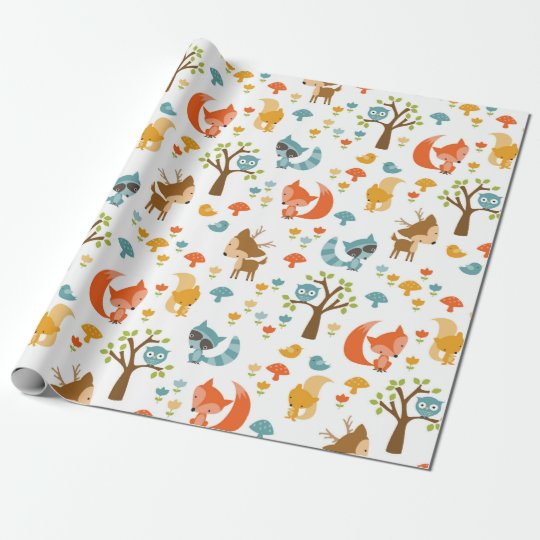 Cute Woodland Animal Wrapping Paper Zazzle Com