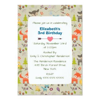 Cute Woodland Animals and Flowers Birthday Invite