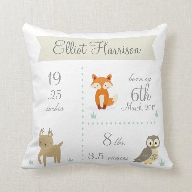 Cute Woodland Animals Baby Boy Announcement Pillow