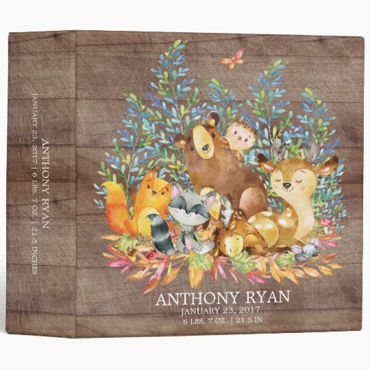 cute woodland animals baby photo album 3 ring binder