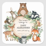 """Cute Woodland Animals Baby Shower Bookplate Labels<br><div class=""""desc"""">This whimsical design features rustic watercolor botanical greenery and adorable woodland animals</div>"""