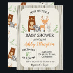 "Cute Woodland Animals Baby Shower Invitation<br><div class=""desc"">Looking for a cute woodland animals baby shower invitation? This may be what you are looking for. This design features four cute woodland animals on a cream watercolor paper background with a wood grain link border. The design also includes the woodland animals in a pattern on the back. This gender...</div>"