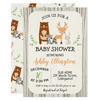 Cute Woodland Animals Baby Shower Invitation