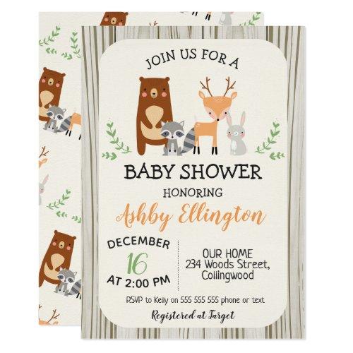 Cute Woodland Animals Baby Shower Invitation