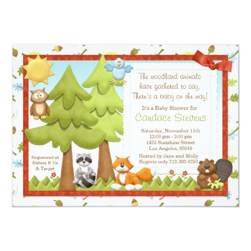 Cute Woodland Animals Baby Shower Invitation 5quot; X 7quot; Invitation Car