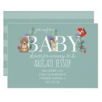 Cute Woodland Animals Baby Shower Invitation Card
