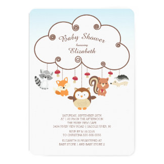 Cute Woodland Animals Baby Shower Invitations