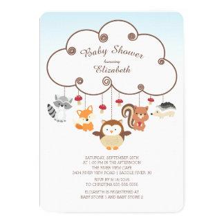 "Cute Woodland Animals Baby Shower Invitations 5"" X 7"" Invitation Card"