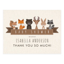 Cute Woodland Animals Baby Shower   Thank You Postcard
