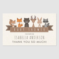 Cute Woodland Animals Baby Shower | Thank You Rectangular Sticker