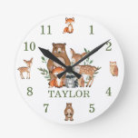 Cute Woodland Animals Bear Deer Fox Owl Numeral Round Clock