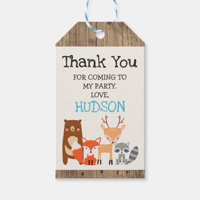 Cute woodland animals birthday favor tag. gift tags