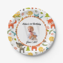 Cute Woodland Animals Custom Photo Party Plates