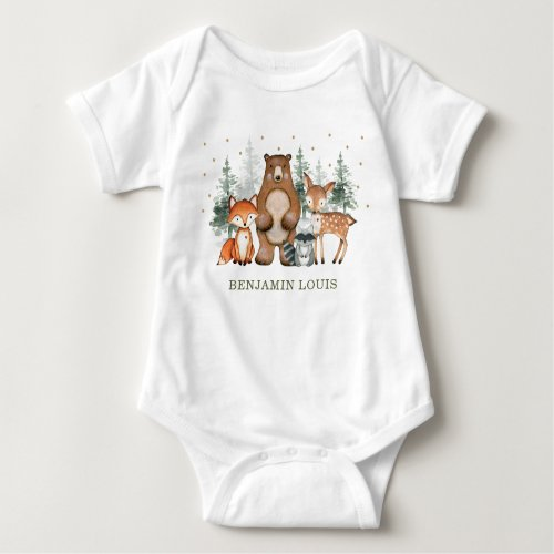 Cute Woodland Animals Forest Pine Trees Greenery Baby Bodysuit