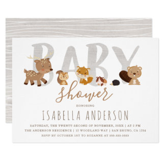Cute Woodland Animals | Gender Neutral Baby Shower Invitation
