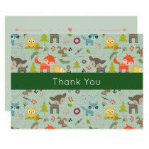 Cute Woodland Animals Illustrated Event Thank You Card