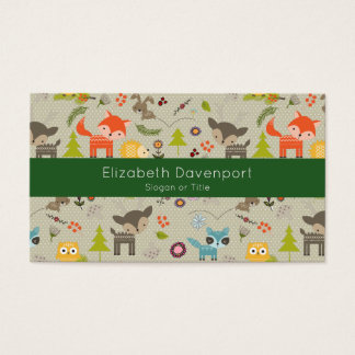 Cute Woodland Animals Illustrated Pattern Business Card