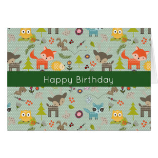 Cute Woodland Animals Illustration Happy Birthday Card