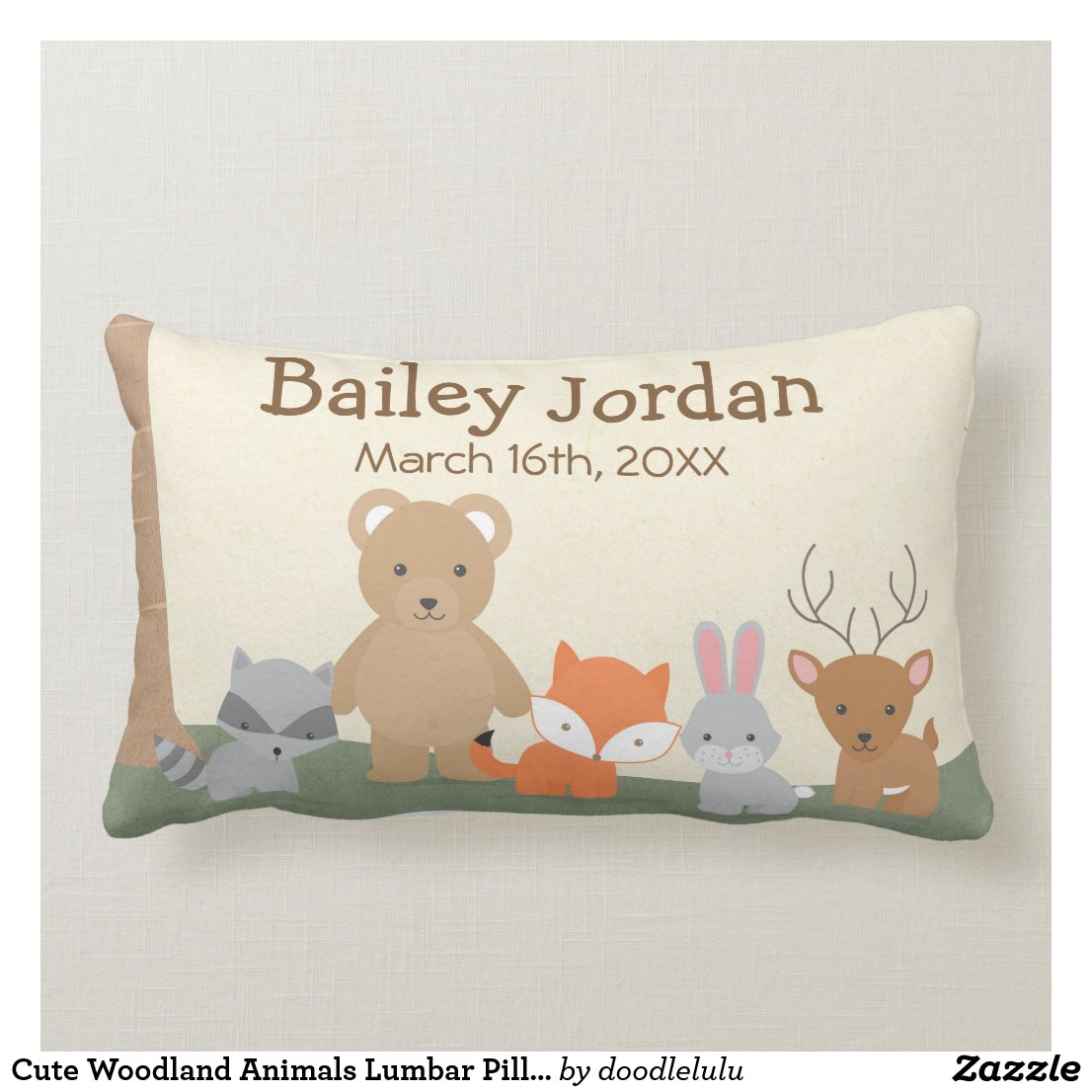 Cute Woodland Animals Lumbar Pillow