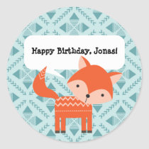 Cute Woodland Animals Personalized Fox Stickers