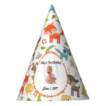 Cute Woodland Animals Personalized Photo Party Hat