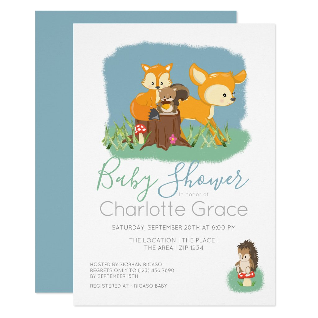 Cute Woodland Animals Unisex Baby Shower Invitation