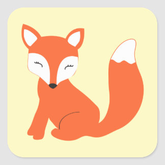 Cute Woodland Baby Fox Square Sticker