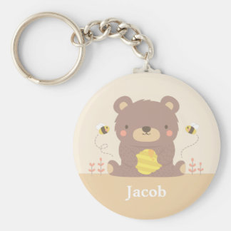 Cute Woodland Bear and Bees For Kids Keychain