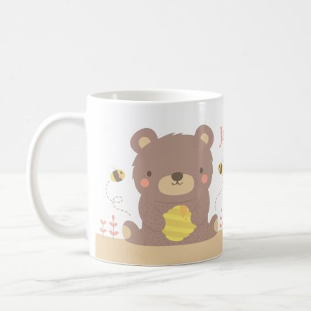 Cute Woodland Bear and Bees Kids Mug
