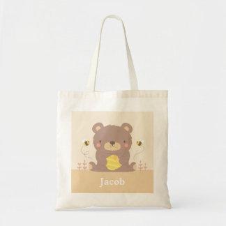 Cute Woodland Bear and Bees Kids Tote Bag