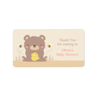Cute Woodland Bear Baby Shower Thank You Labels