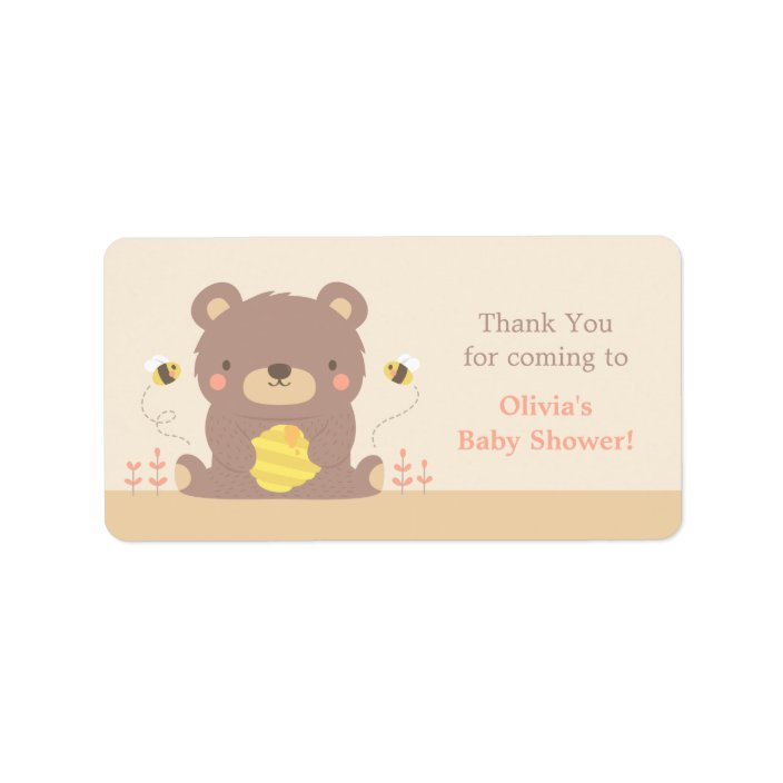 Cute Woodland Bear Baby Shower Thank You Labels Zazzle Com