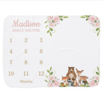 Cute Woodland Blush Pink Floral Monthly Milestone Baby Blanket