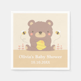Cute Woodland Brown Bear Baby Shower Paper Napkins