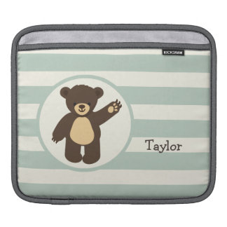 Cute Woodland Brown Bear; Sage Green Stripes iPad Sleeves