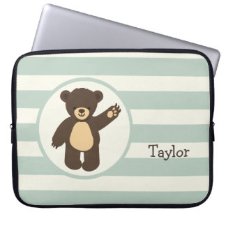 Cute Woodland Brown Bear; Sage Green Stripes Laptop Computer Sleeves