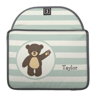Cute Woodland Brown Bear; Sage Green Stripes MacBook Pro Sleeves