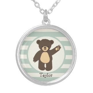 Cute Woodland Brown Bear; Sage Green Stripes Round Pendant Necklace