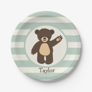 Cute Woodland Brown Bear; Sage Green Stripes Paper Plate