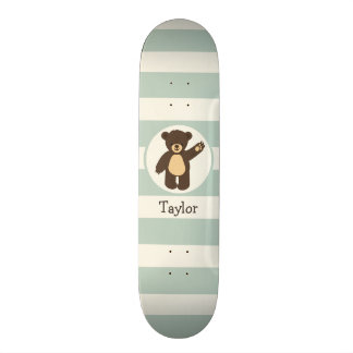 Cute Woodland Brown Bear; Sage Green Stripes Skateboard Deck
