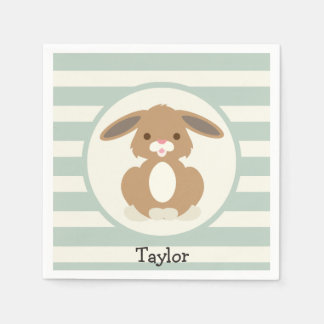 Cute Woodland Bunny Rabbit on Light Sage Green Paper Napkin
