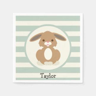 Cute Woodland Bunny Rabbit on Light Sage Green Paper Napkin