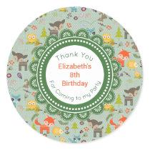Cute Woodland Creatures Animal Pattern Birthday Classic Round Sticker